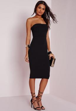 Layered Bandeau Midi Dress Black