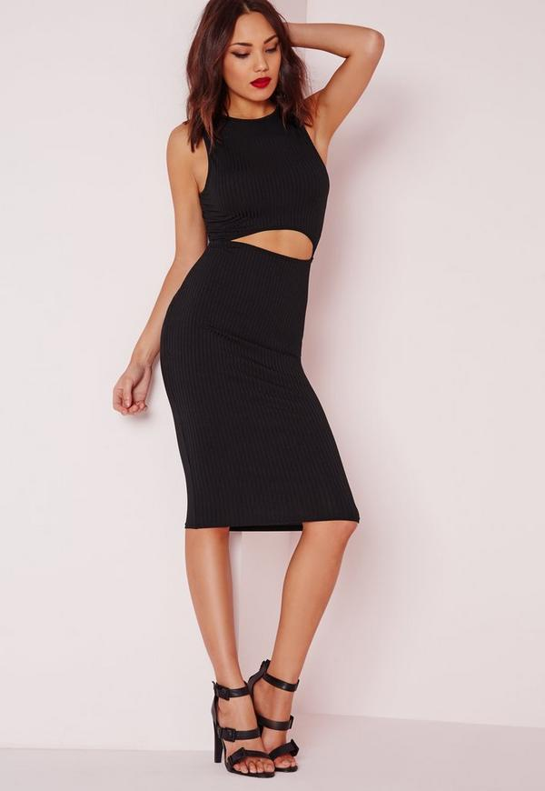 Waist Cut Out Ribbed Midi Dress Black