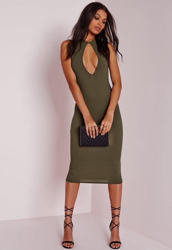 Keyhole Plunge Ribbed Midi Dress Khaki