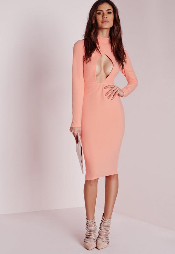 Long Sleeve Cut Out Midi Dress Pink