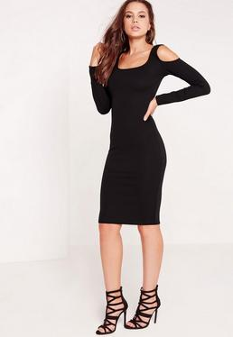 Cold Shoulder Textured Bodycon Dress Black