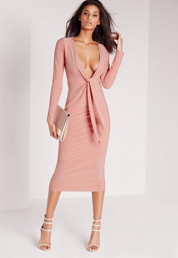 Knot Front Midi Dress Pink
