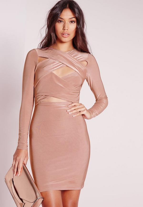 Slinky Cross Over Bodycon Dress Rose