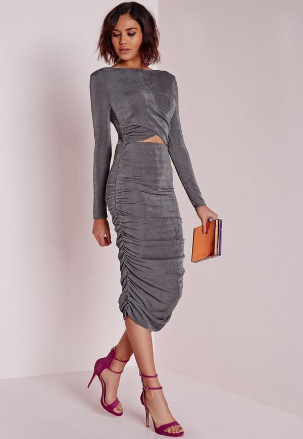 Slinky Ruched Cut Out Midi Dress Grey