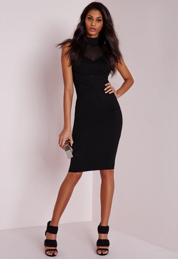 Mesh High Neck Midi Dress Black