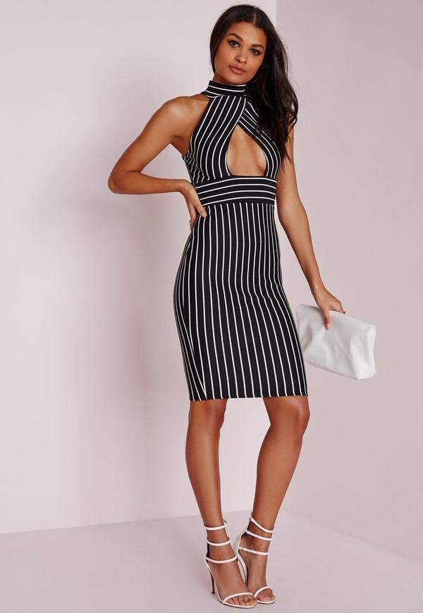 striped choker midi dress monochrome