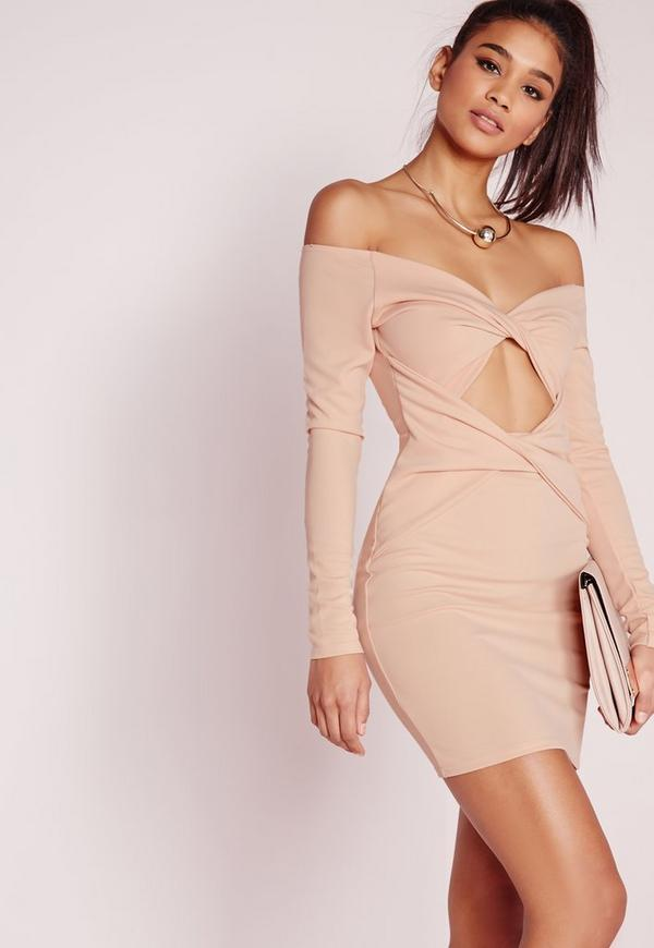 Long Sleeve Cut Out Bodycon Dress Nude
