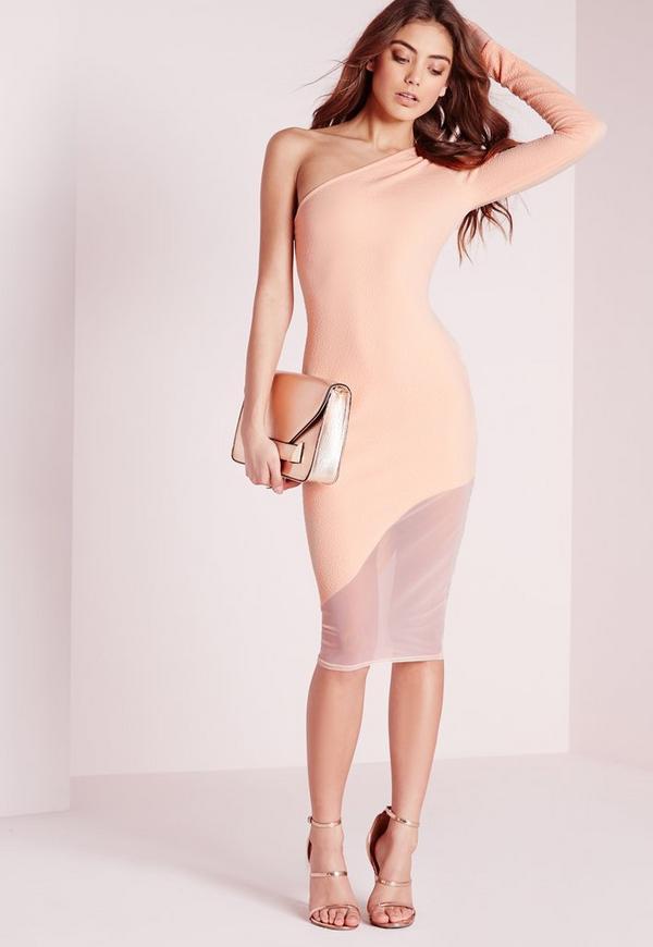 One Shoulder Midi Dress Nude