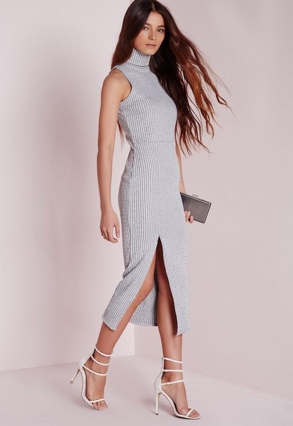 High Neck Ribbed Midi Dress Grey