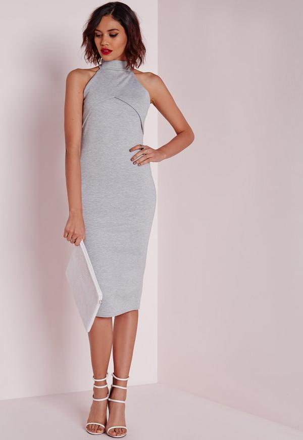 High Neck Midi Dress Grey