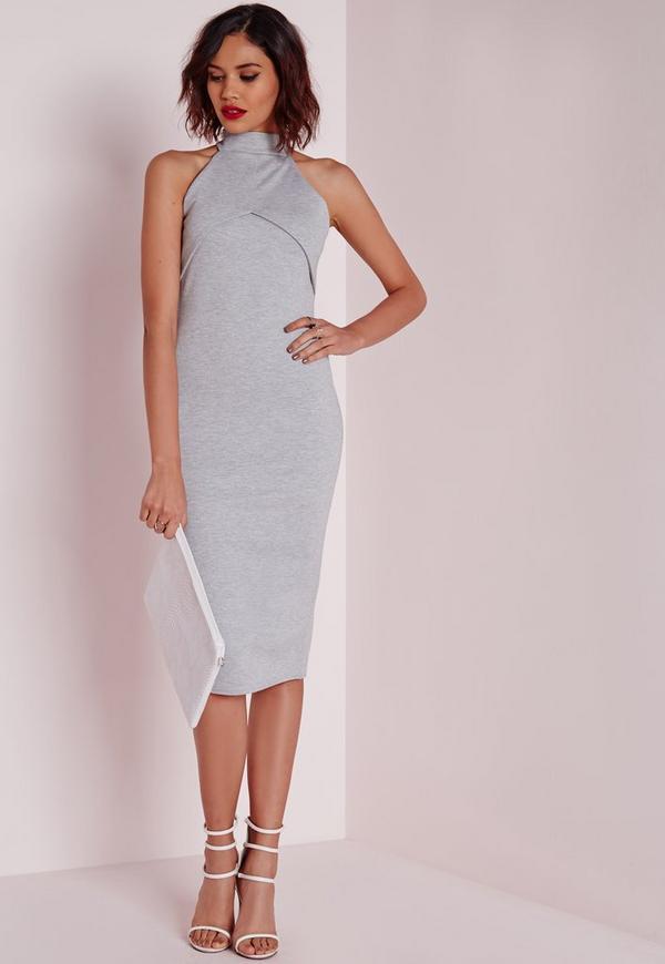 High Neck Midi Dress Grey