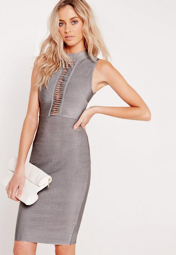 Premium Bandage Slashed Bust Midi Dress Grey