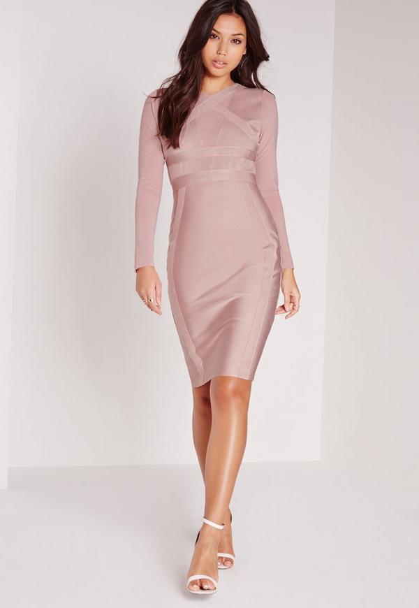 Premium Long Sleeve Bandage Bodycon Dress Pink
