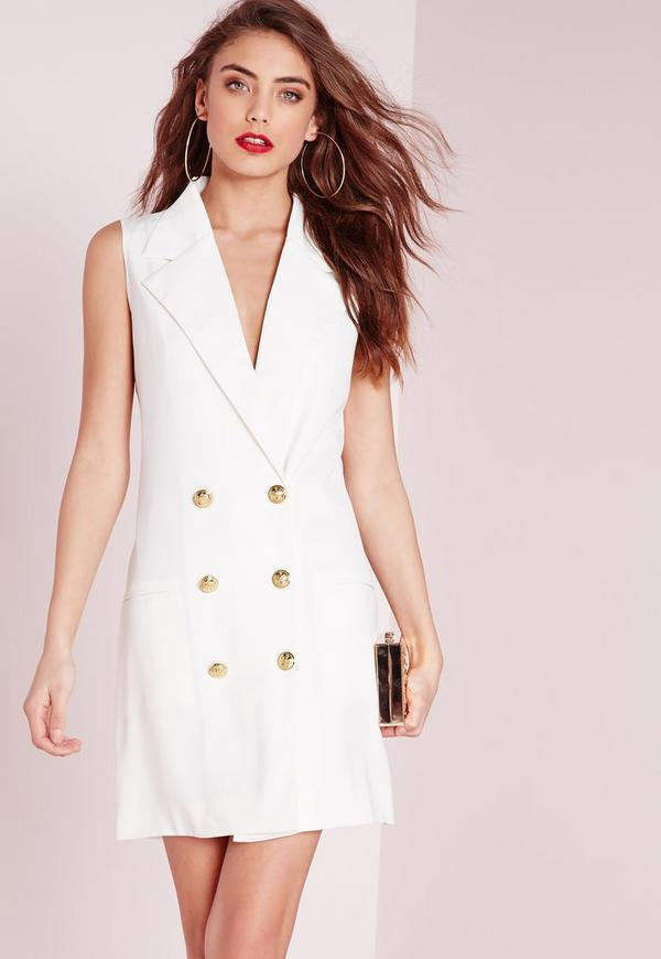 Tuxedo Wrap Dress White
