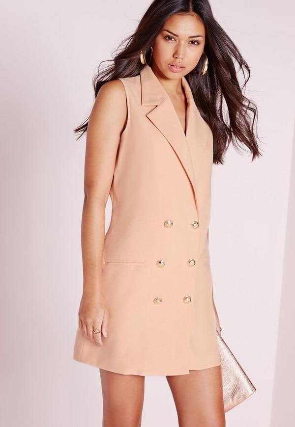 Tuxedo Wrap Dress Nude