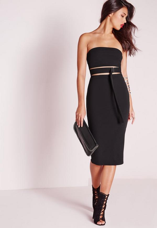 Strapless Cut Out Buckle Detail Midi Dress Black
