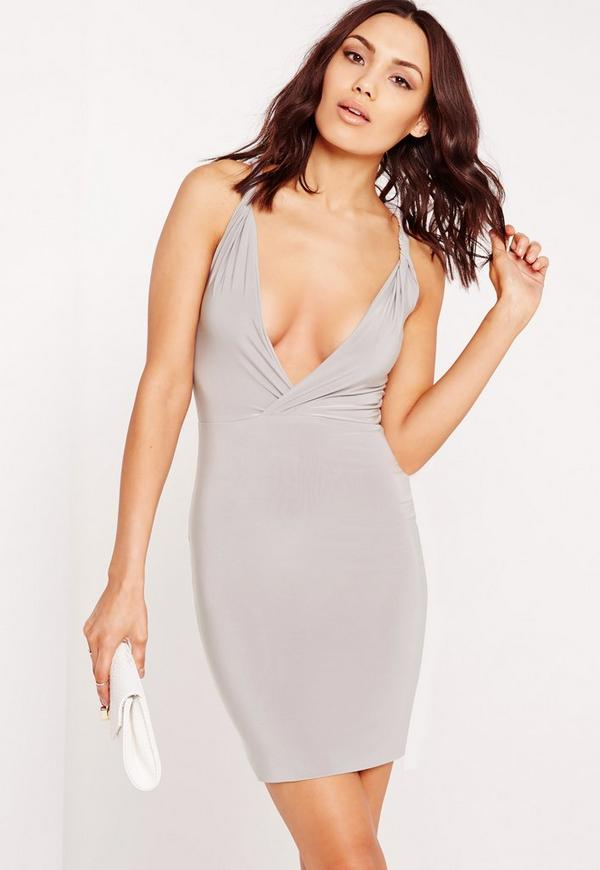 Slinky Plunge Twist Strap Bodycon Dress Grey