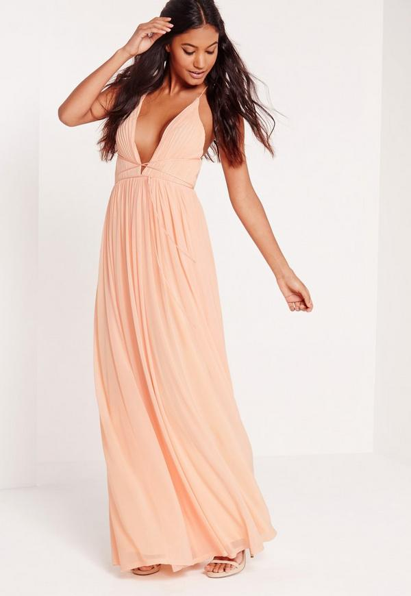 Strappy Pleated Plunge Maxi Dress Nude