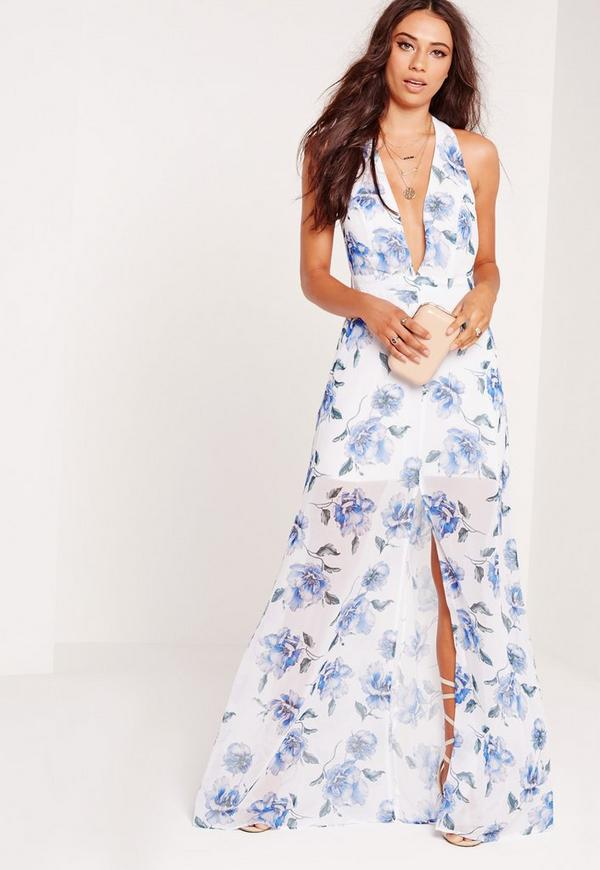 Halterneck Floral Maxi Dress White/Blue