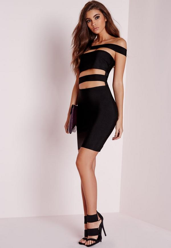 Premium Bandage Bardot Bodycon Dress Black