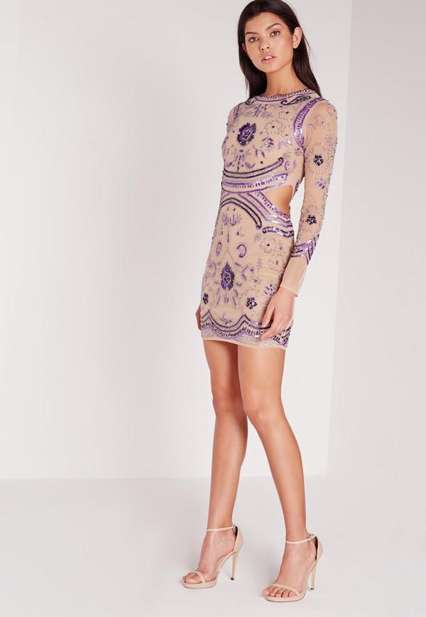 Premium Embellished Cut Out Waist Mini Dress Purple