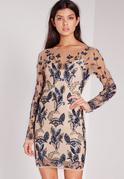 Premium Leaf Embellished Mini Dress Blue