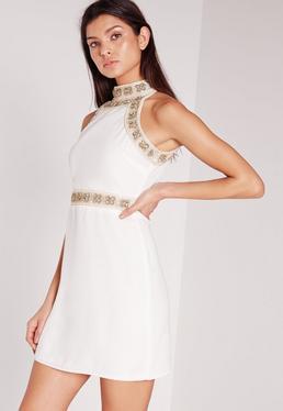 Premium Floral Beaded High Neck Mini Dress White
