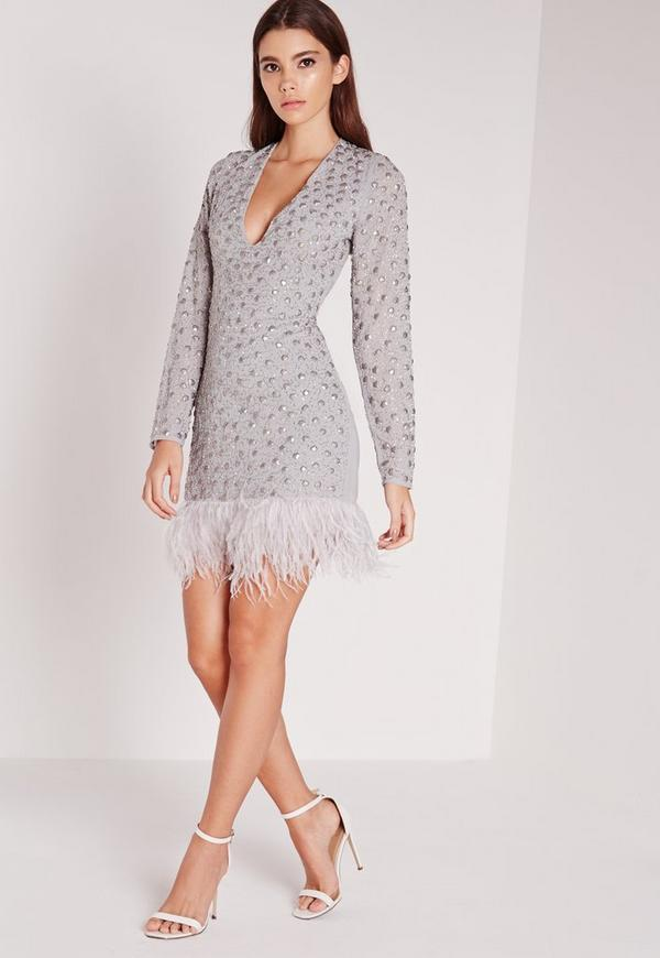 Premium Feather Embellished Mini Dress Silver