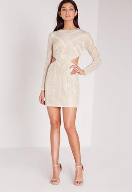 Premium Sequin Cut Out Waist Chevron Mini Dress White