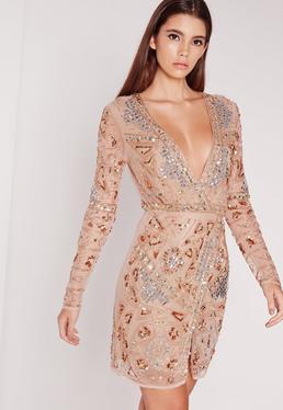 Premium Long Sleeve Sequin Embellished Wrap Mini Dress Gold