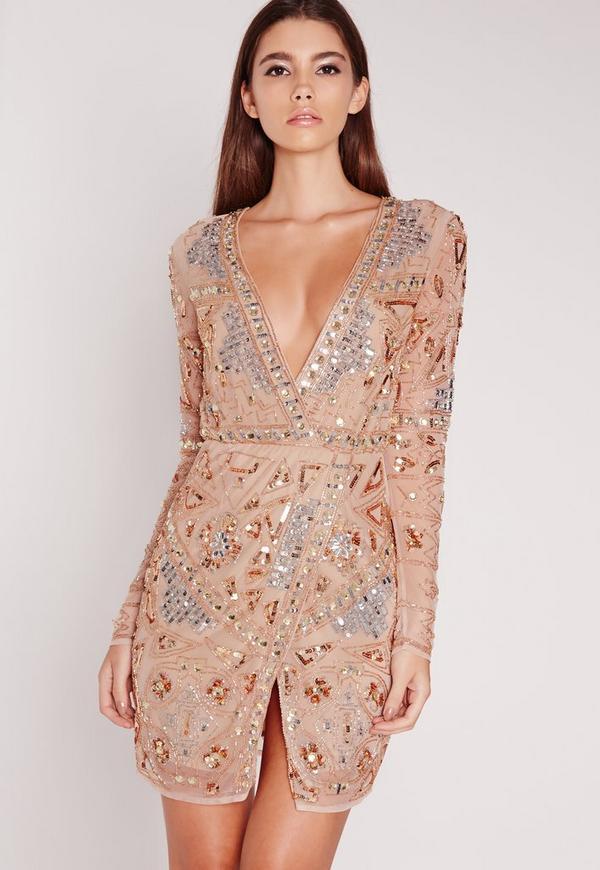 Premium Long Sleeve Sequin Embellished Wrap Mini Dress Gold ...