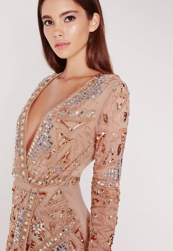 Https Www Missguidedus Com Premium Long Sleeve Sequin Embellished Wrap Mini Dress Gold