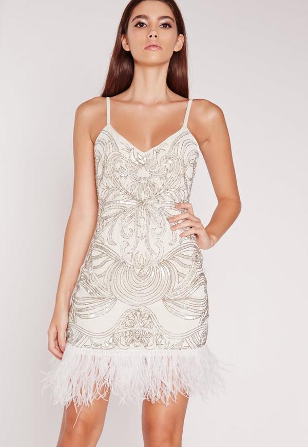 Premium Strappy Feather Hem Dress White