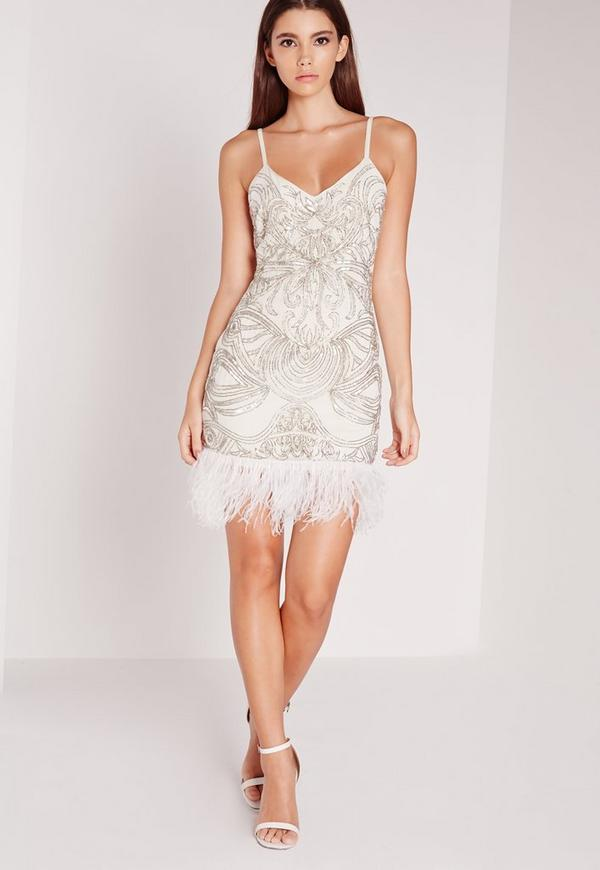 Premium Strappy Feather Hem Dress White | Missguided