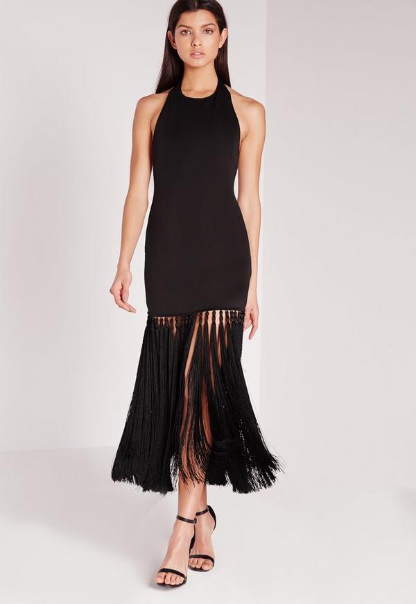 Premium Tassel Hem Midi Dress Black