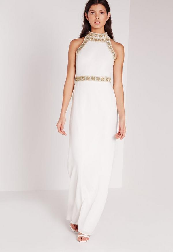 Premium Floral Beaded High Neck Maxi Dress White | Missguided