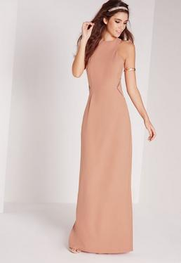Mesh Insert Maxi Dress Nude