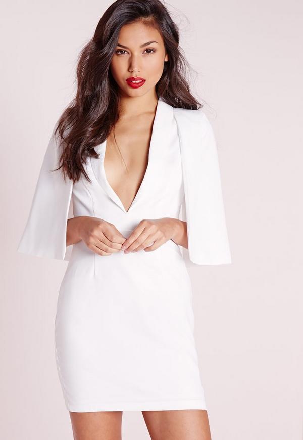 Cape Overlay Shift Dress White