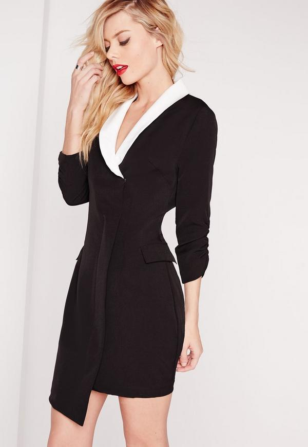 Crepe Ruched Sleeve Blazer Dress Monochrome