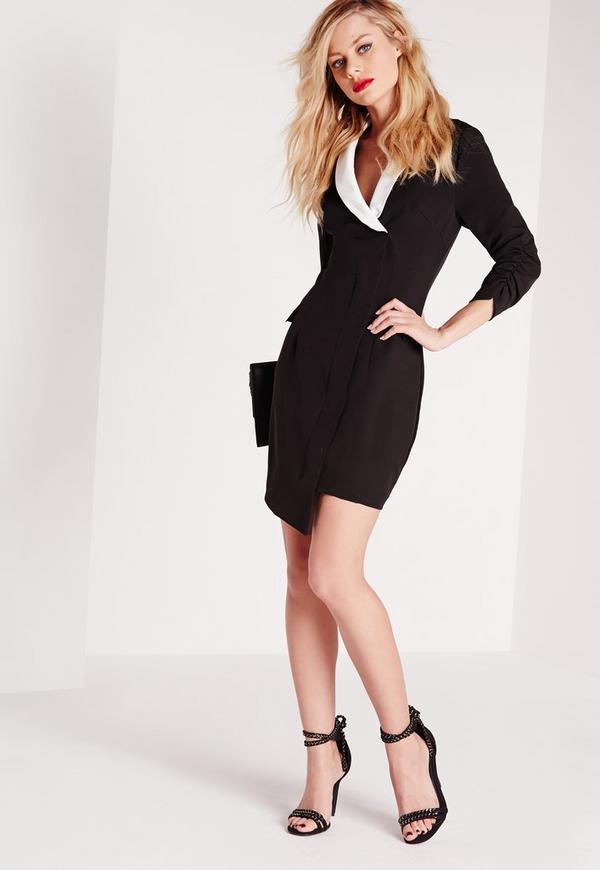 fe5ec6883c2c8 Crepe Ruched Sleeve Blazer Dress Monochrome | Missguided