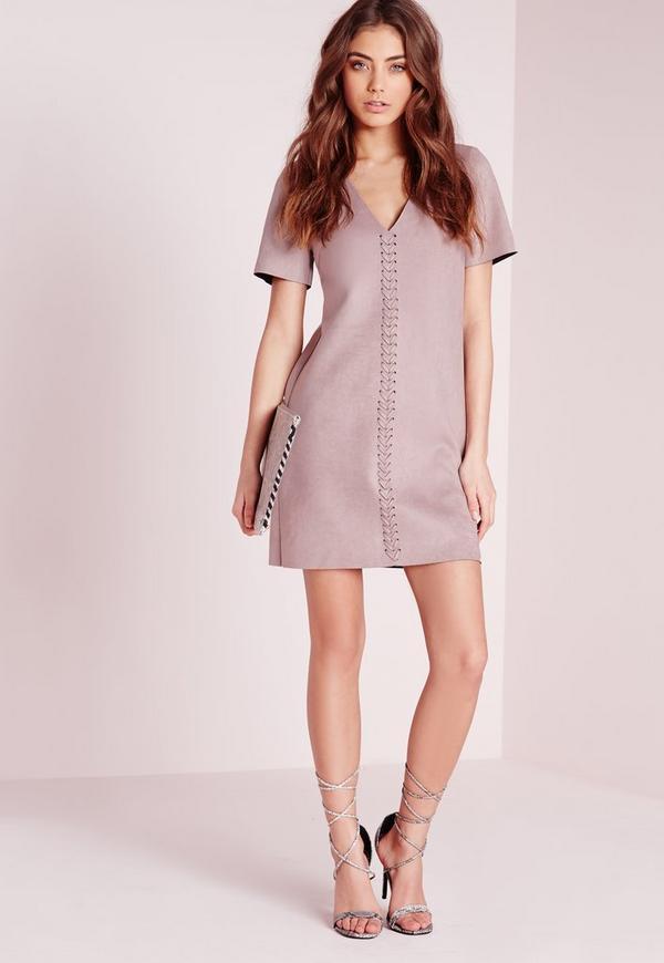 Faux Suede Stitch Detail Shift Dress Mauve