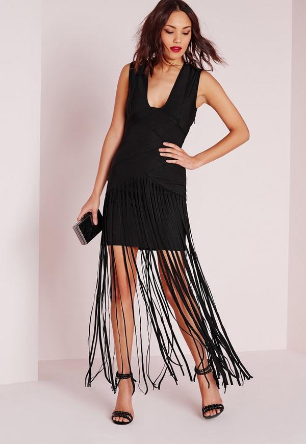 Premium Bandage Tassel Hem Maxi Dress Black