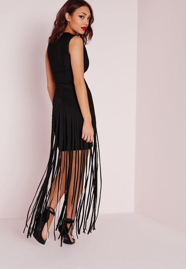 robe longue noire effet bandage avec longues franges. Black Bedroom Furniture Sets. Home Design Ideas