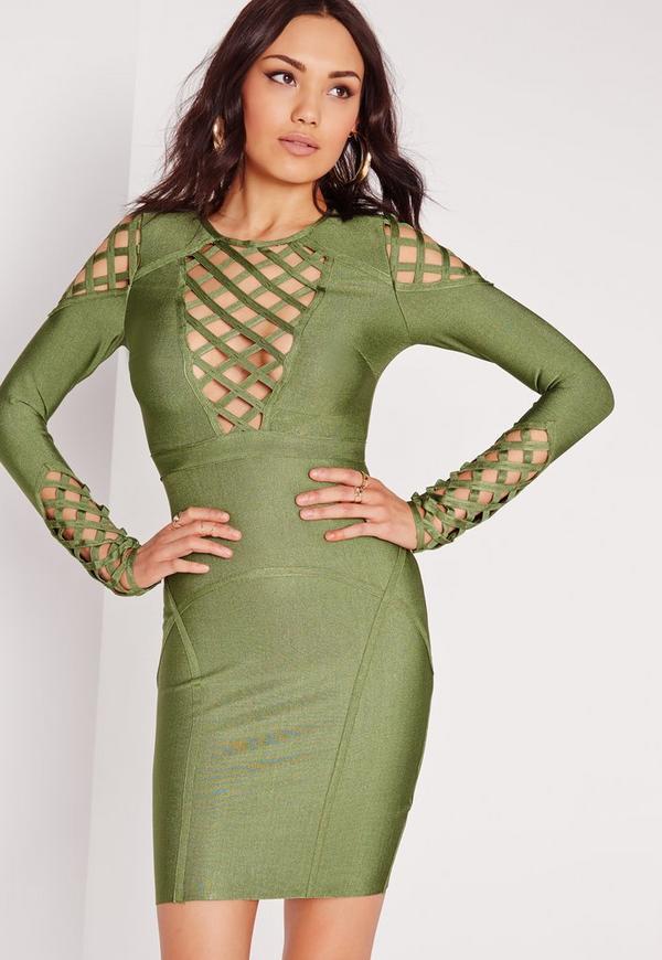 Premium Bandage Cut Out Detail Bodycon Dress Khaki