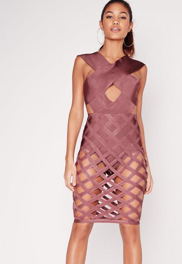 Premium Bandage Criss Cross Skirt Bodycon Dress Purple