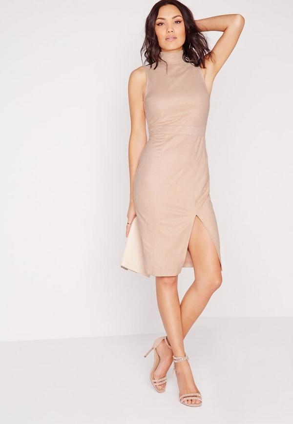 Faux Suede High Neck Midi Dress Nude