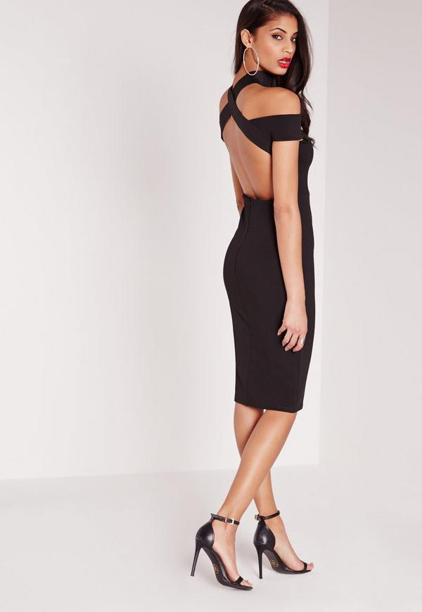 Elastic Neck Strap Detail Bodycon Dress Black