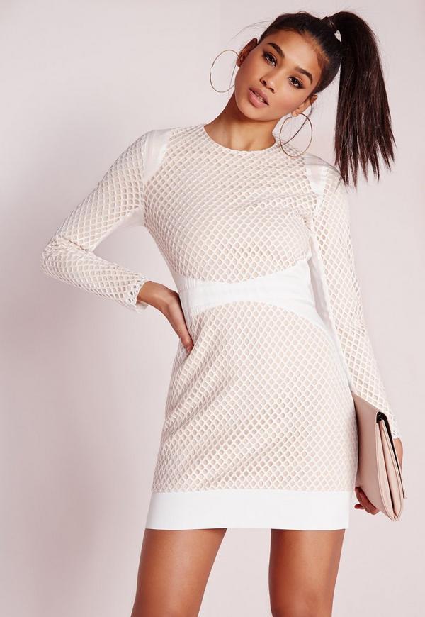 Fishnet Overlay Bodycon Dress White