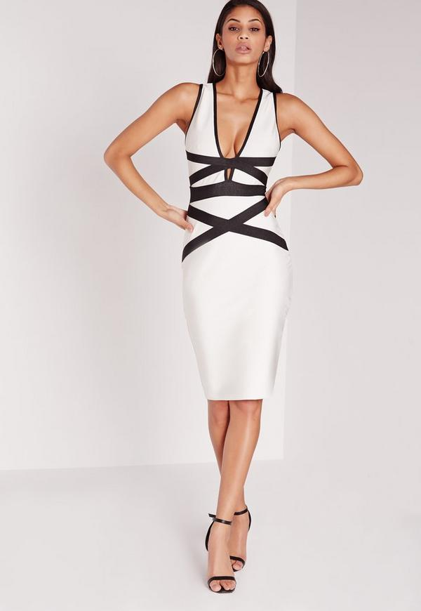 Premium Contrast Bandage Bodycon Dress Monochrome