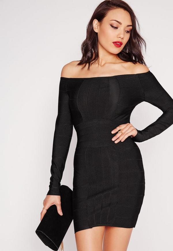 Premium Bardot Bandage Bodycon Dress Black